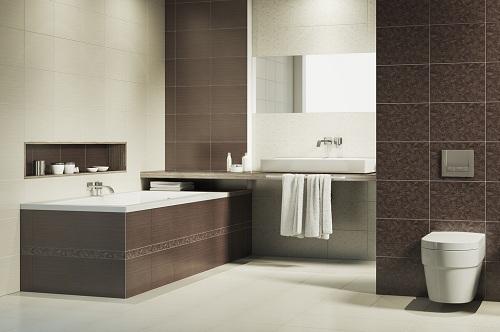ванная обложена плиткой