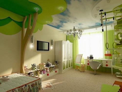 зонирование детской потолком