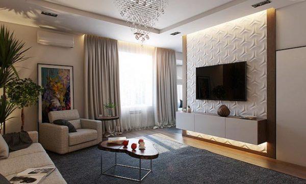 оформление стенки в гостиной