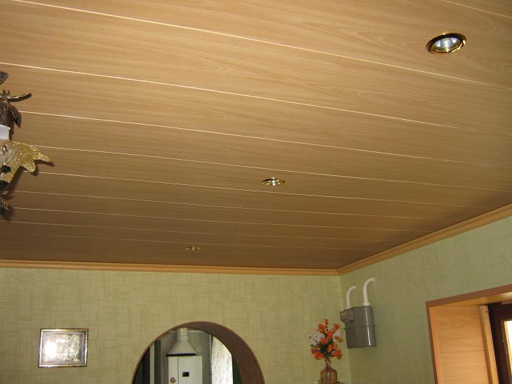 МДФ на потолке из гипсокартона