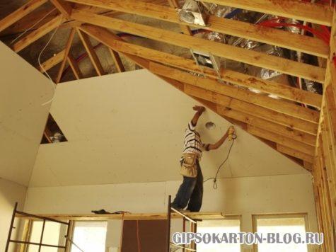 отделка каркасного дома внутри гипсокартоном