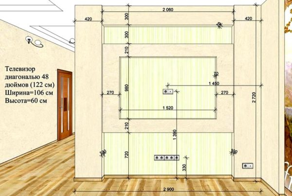 схема стенки под телевизор