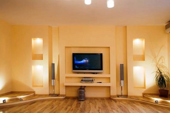 гипсокартонная стенка под телевизор