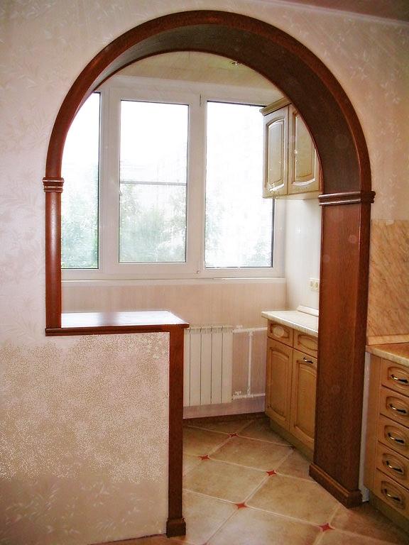 арка из ГКЛ на кухне