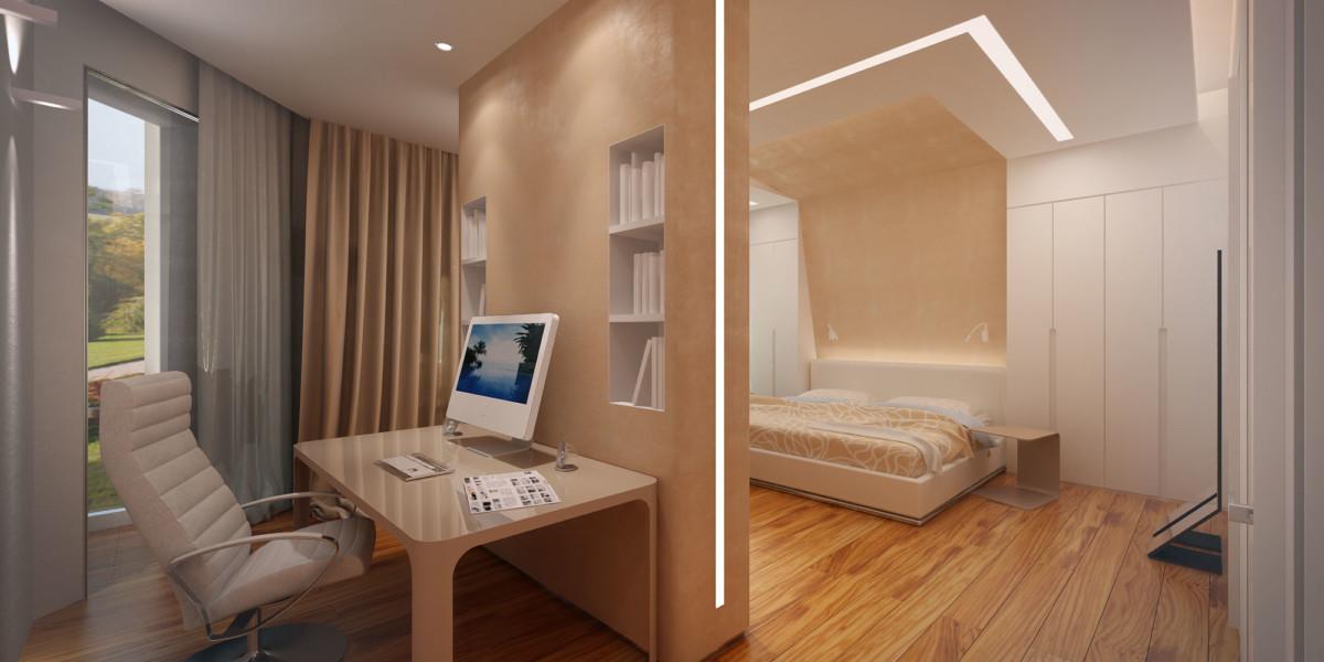 перегородка из ГКЛ, делящая комнату на место отдыха и работы