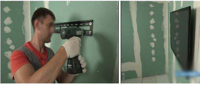 вешаем телевизор на гипсокартонную стену