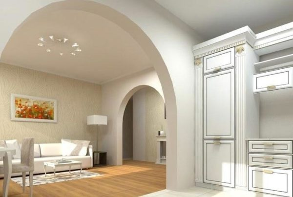 арка из гкл в комнате