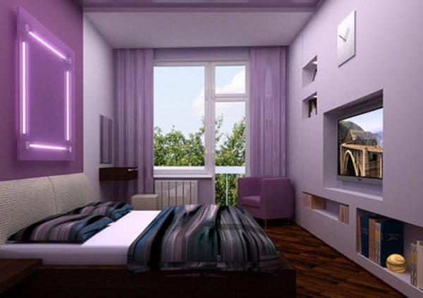 фиолетовый дизайн комнаты