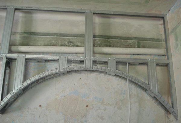 каркас арки на стене