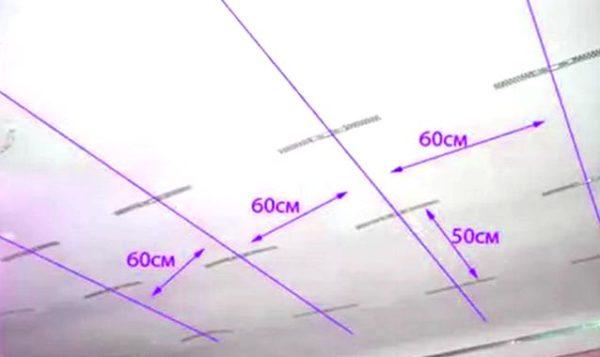 отметки на потолке