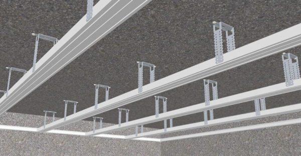 монтаж профиля на  потолок