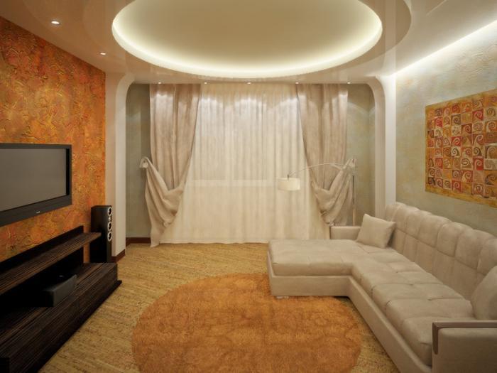 Оформление потолка гипсокартонной конструкцией с подсветкой
