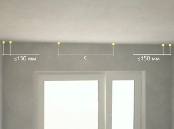 Разметка потолка под профиль